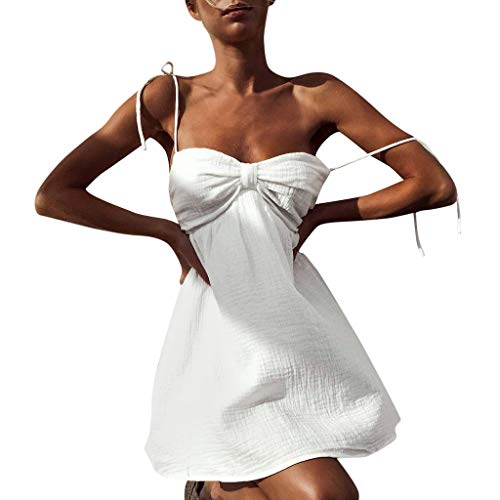 Sling Wrapped Chest Pleated Waist Dress Sleeveless Mini Beach Dress ()