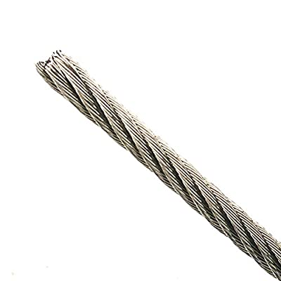 3ft Custom Cut to Order Bare Stainless Steel Grade 304 Wire Rope Cable 1/16 inch Center Core Diameter 7x7 Construction Superior Corrosion Flexible and Wear Resistant cable breaking strength 500lb