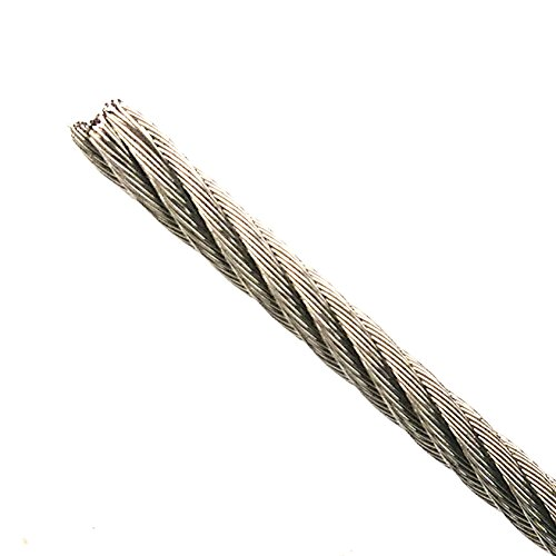 PSI 20ft Custom Cut to Order Bare Stainless Steel Grade 304 Wire Rope Cable 3/32 inch Core Diameter 7x19 Construction Superior Corrosion Flexible and Wear Resistant cable breaking strength 920 lbs
