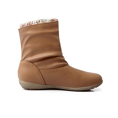 Soft top Heels Material Low apricot Low Toe Closed Women's Boots Solid AmoonyFashion Round CO6a5Tqq