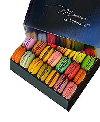 Leilalove Macarons - 16 Parisian Macaron Collections of dozen Flavors - Elegant Gentleman style gift box - Baked to Order
