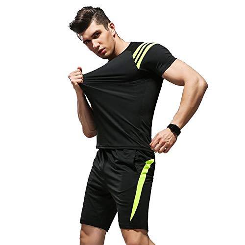 Zxl-yf Herren Fitnessanzug Sport Laufbekleidung schnell trocknende, atmungsaktive Strumpfhose Trainingsanzug Trainingskleidung für Männer (Farbe : Schwarz, größe : XL)