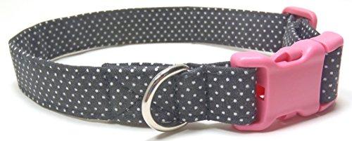 - Ruff Roxy Paris Polka Dots Pink Black Dog Collar, Designer Cotton Dog Collar, Adjustable Handmade Fabric Collars (S)