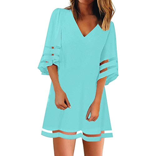 BOLMI Women's V Neck Mesh Panel Blouse 3/4 Bell Sleeve Loose Top Shirt Dress Summer Casual Mini Dress Sky Blue]()