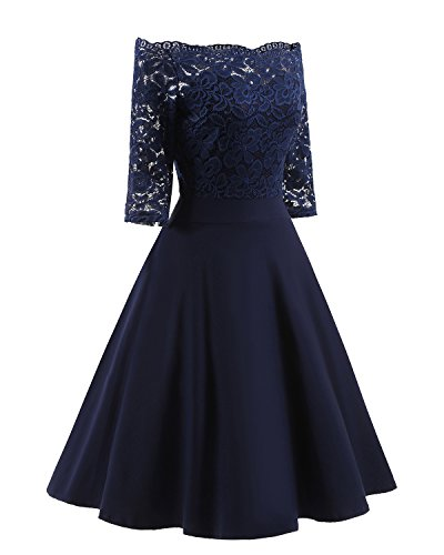 Women#039s Vintage Dresses Lace Floral Boat Neck 3/4 Long Sleeve Swing Dress ALine Cocktail Party Prom L Blue
