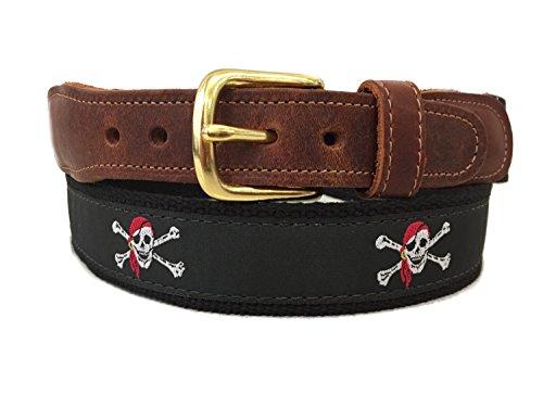 (Preston Leather Black Jolly Roger Pirate Skull & Bones Belt (32))