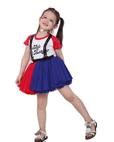Miccostumes Girls Quinn Red and Blue Shirt Suspender Skirt Cosplay Costume (Harley Quinn Skirt Costume)