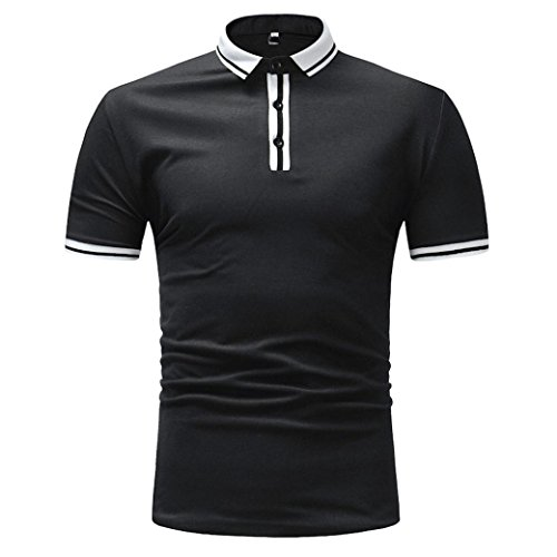 Realdo Men's Striped Polo Shirt, Slim Fit Stand Collar Short Sleeve Button Down Tops Shirts(Black,Large)