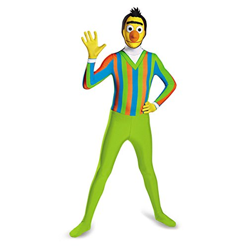 [Disguise Men's Sesame Street Bert Bodysuit Costume, Green/Orange/Blue, XX-Large/50-52] (Green Man Body Suit)