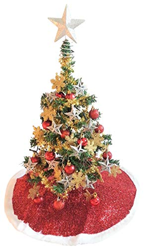 (Miniature Tabletop Green Christmas Tree Kit - Includes LED Lights, Snowflake & Star Ornaments, Garland, Tree Skirt, Artificial Pine Tree & More! - Bundle of 8-Items)