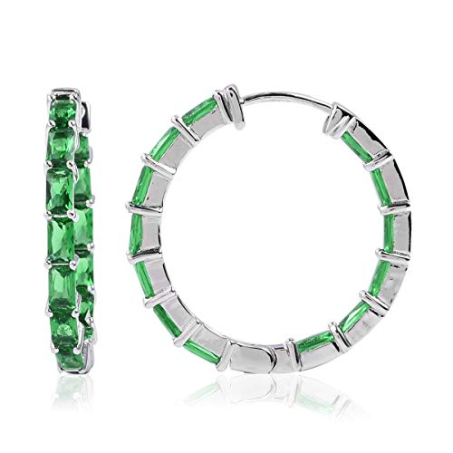 Inside out Hoops Hoop Earrings Green Glass Silverton Jewelry for Women