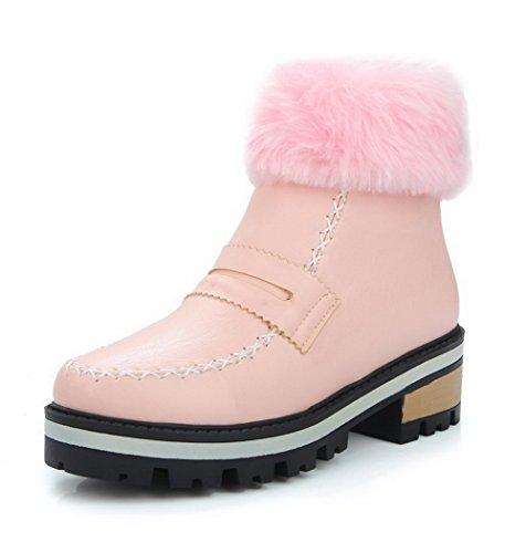 VogueZone009 Damen Weiches Material Rund Zehe Rein Niedrig-Spitze Stiefel Pink