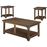 Bowery Hill 3 Piece Coffee Table Set in Brown
