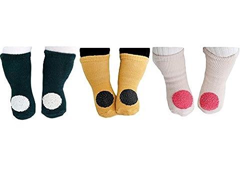 Julvie Unisex Anti-Slip Thick Winter Socks(3 Pairs) for Baby 0-4yrs
