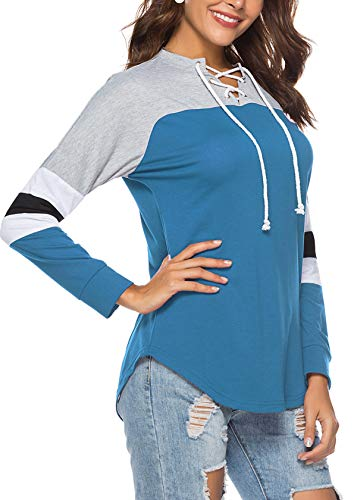 Sweat Printemps Casual Bleu Automne T Shirts Patchwork Manches Femmes Fashion et Hauts Bandage Longues Pulls Blouse V Tops Jumpers Col JackenLOVE Shirts 0gqwdx0