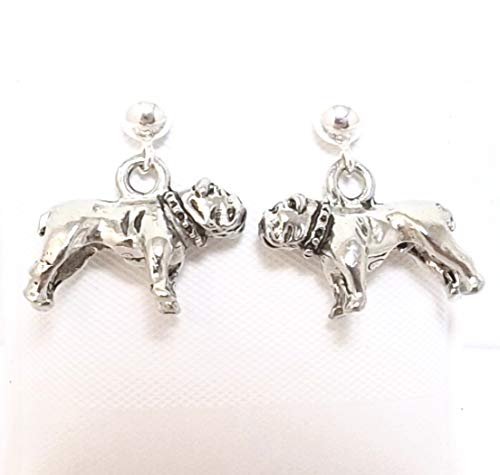 Pewter Bulldog Charms on Hypoallergenic Ball Post Stud Earrings