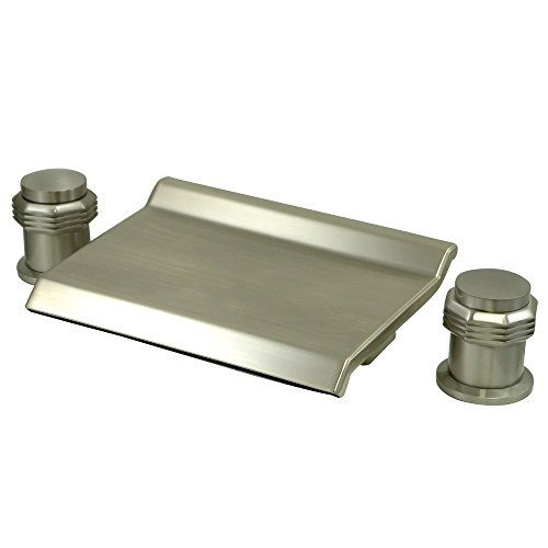 Milano Round Handles (Kingston Brass KS2248MR Milano Waterfall Roman Tub Filler with Round Handle, 3-3/8-Inch, Satin Nickel)