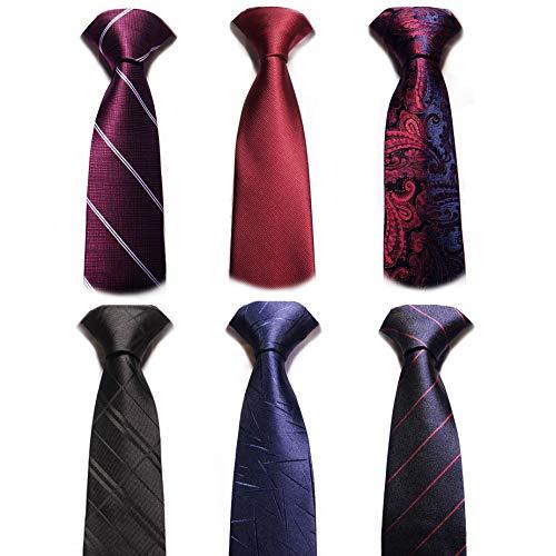 AVANTMEN New Men's neckties 6 Pack Classy Neck Tie for Men Woven Jacquard Neck Ties