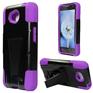 3 in 1 Bundle LG Optimus L70 (Metro PCS ) / Optimus Exceed II (Verizon) / Dual D325 HYBRID rubberized silicone Combo Cover w/ Kickstand - Purple (Free Ultra-Sensitive Stlyus Pen and Premiun Screen Protector by BeautyCentral TM))