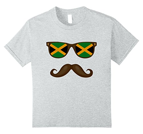 Kids Jamaican Flag Sunglasses Moustache T-shirt Jamaica Tee 10 Heather - Sunglasses Jamaican Flag
