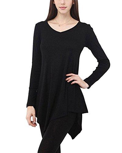 Mujer Vestido Corto Mangas Largas Camiseta Larga Hem Irregular Vestido Negro