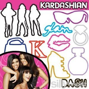 Kardashian Glam 24-pack Licensed Silly Bandz with Free Necklace to Hold the Bands !