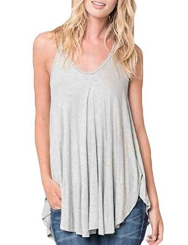 OURS Womens Sleeveless High Low Hem Pleated Racerback Tank Top Cami (S, Gray)