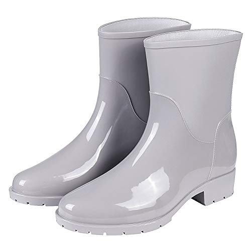 Evshine Women's Mid Calf Rain Boots Lady Anti-Slip Rain Boot Waterproof Rubber Booties Light Gray