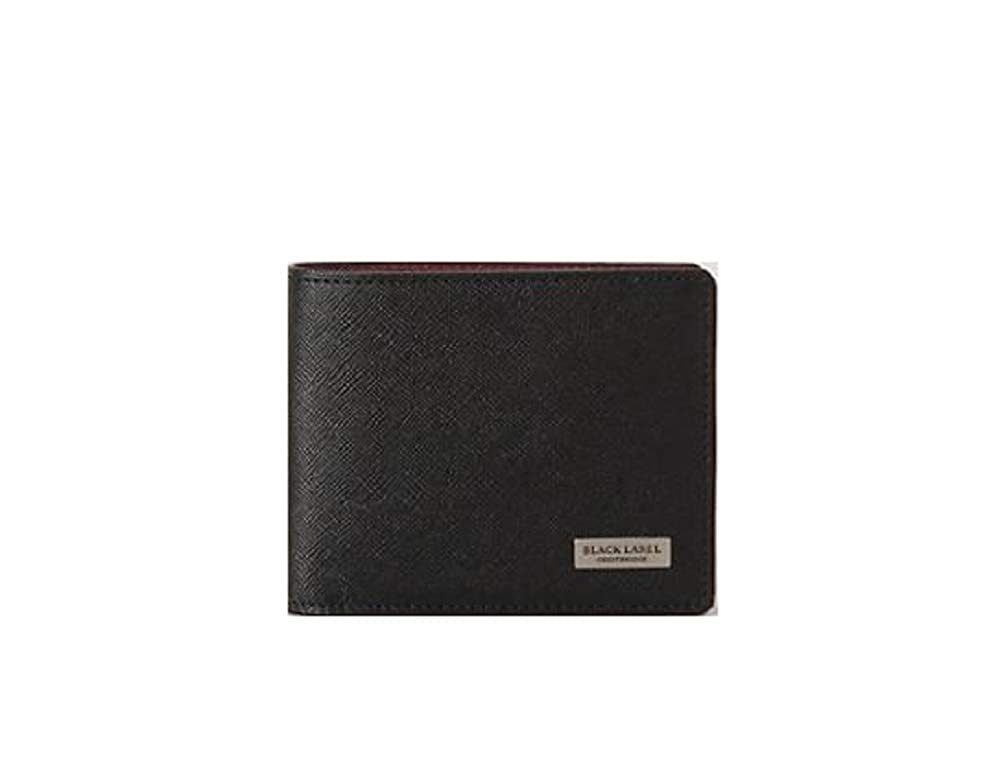 クレストブリッチ メンズ 財布 二つ折り財布 プリムレザーコインタイプ バーバリー ライセンス商品 B017KNMKYS ブラック