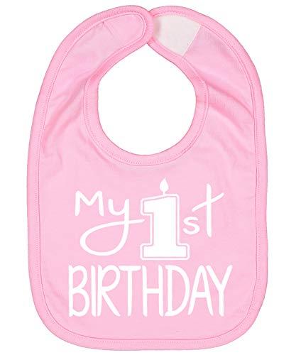Handmade Cute Baby Boy Girl First Birthday Smash Cake Bibs - My 1st Birthday Bib (White Pink)