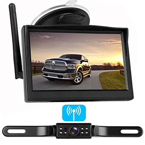 LeeKooLuu Digital Wireless Backup Camera System for Car/RV/Truck/Van/Trailer/Pickup with 5''Monitor Rear/Side/Front View Camera Continuous/Reverse Night Vision IP69 Waterproof Guide Lines ()