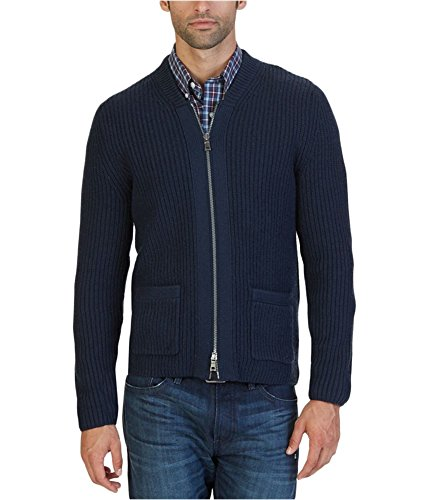Nautica Men's Zip Front Shawl Collar Cardigan, Navy, (Zip Cardigan)