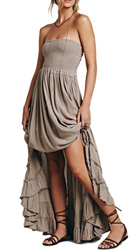 (R.Vivimos Womens Summer Cotton Sexy Blackless Long Dresses Large Gray)