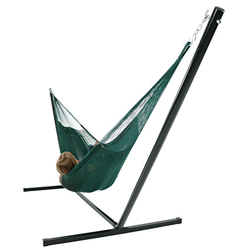 Sunnydaze Hand-Woven 2 Person Mayan Hammock with Stand, Family Size, Green, 400 Pound Capacity