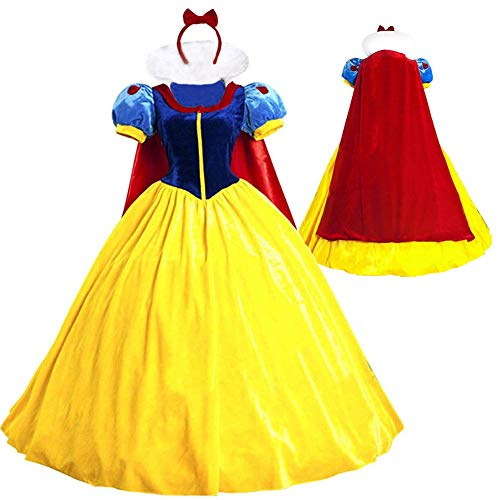 KUFV Women Snow White Princess Costume with Headband for Teens & Adult S-XXL ()