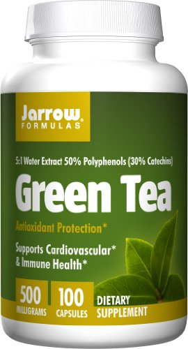 Jarrow Formulas Green Tea 5-to-1, Supports Cardiovascular & Immune Health, 500mg, 100 Capsules (Pack of 2)
