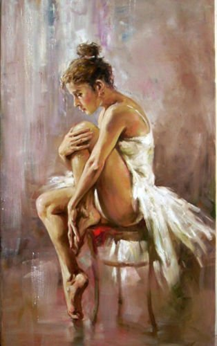 100% Hand Painted portrait beautiful young ballet girl Ballerina have a rest Canvas Oil Painting for Home Wall Art by Well Known Artist, Framed, Ready to Hang