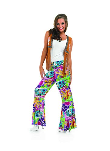 (Womens 70s Hippie Flares Campervan Print Rainbow Flared Trousers -)