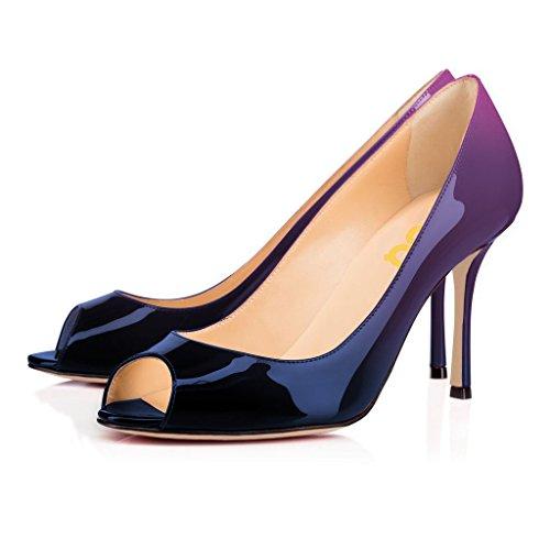 Fsj Donne Lusinghiose Scarpe Aperte Abito Formale Scarpe Lucide Tacchi Alti Pompe Taglia 4-15 Us Sfumatura Viola