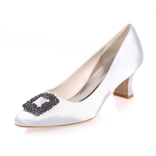 Eté Femmes L Hiver Chaussures Printemps Night En Mariage 0723 white Pointy Party 05 De amp; Soie YC Automne Rqqwx6