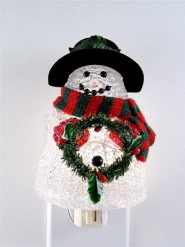 Fiberglass Snowman - Fiberglass Snowman with Wreath Night Light
