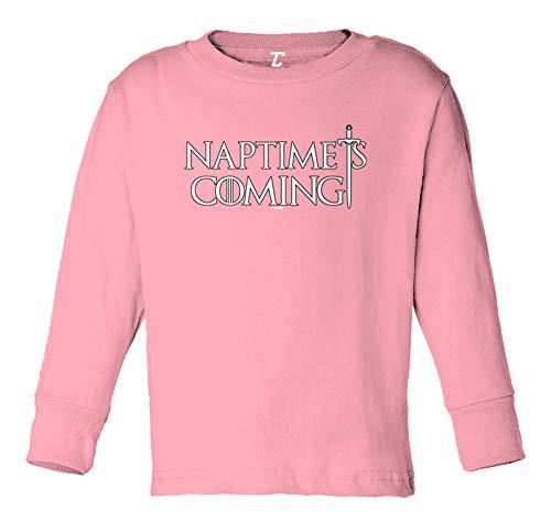 Naptime is Coming - GOT TV Parody Long Sleeve Toddler Cotton Jersey Shirt (Light Pink, 4T) ()