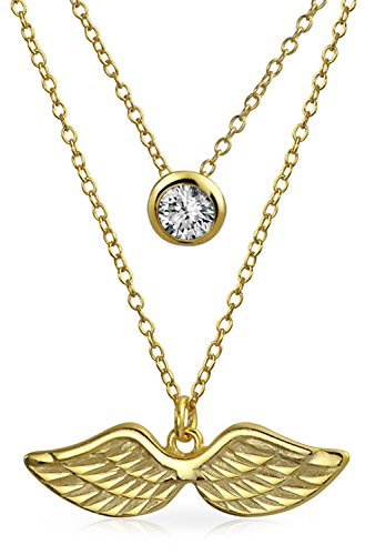5mm Round Multi Stone Pendant - Bezel Set CZ Angel Wings Multi-Layered Gold Plated Necklace Set 16 Inches