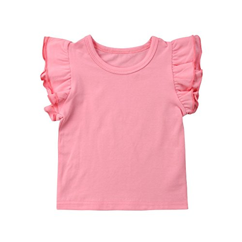 Infant Toddler Baby Girl Top Basic Plain Ruffle T-Shirt Blouse Casual Clothes (2-3 Years, Pink)
