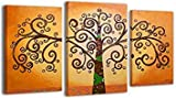 YS-Art Acrylic Painting Tree of Life | 100% HANDPAINTED + Certificate | Artwork on Canvas and Wooden Frame | Picture Handmade | Fine Art Unique | 3-Piece | Modern Wall Art | 130x80 cm by YS-Art