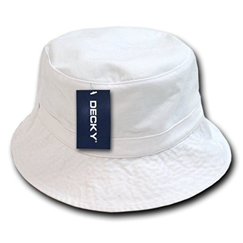 (DECKY Polo Bucket Hat, White, Large/X-Large)