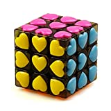 JIAAE Carat Love Heart Rubik's Cube 3X3 Children Puzzle Crystal Rubik,TransparentBlack