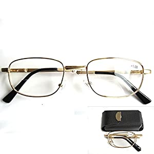 Unique Unisex Rectangular Foldable Folding Bifocal Multifocal Presbyopic Reading Glasses Magnifying Vision Eyewear Eyeglasses +2.00 Flexible Gold Full Frame