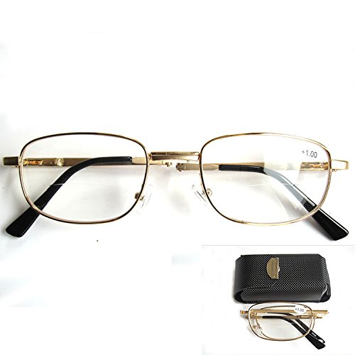 Unique Unisex Rectangular Foldable Folding Bifocal Multifocal Presbyopic Reading Glasses Magnifying Vision Eyewear Eyeglasses +2.00 Flexible Gold Full - Latest For Frames Eyeglasses