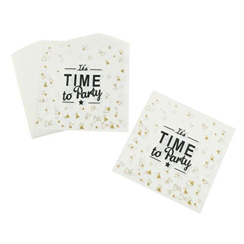 BOZLIZ - Disposable Party Tableware - 20 Pcs It 39 S Time To Party Printing Napkin Paper White Black Letter Wedding Decor Plate Tea - Disposable Party Tableware -